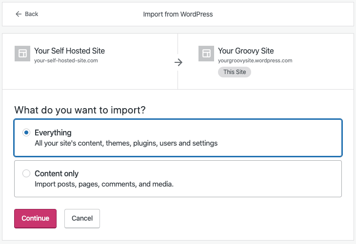 Import from WordPress - Everything or Content Only